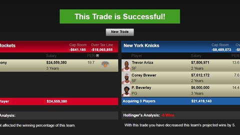Houston Rockets: Carmelo Anthony for Trevor Ariza, Corey Brewer, Patrick Beverley, and Houston's 2017 and 2019 first-round picks