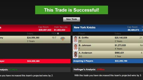 Los Angeles Clippers: Carmelo Anthony and New York's 2017 first-round pick for Blake Griffin, Brice Johnson, Alan Anderson