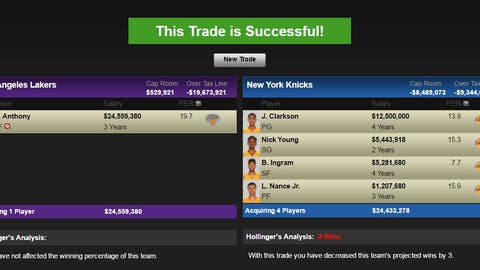 Los Angeles Lakers: Carmelo Anthony for Brandon Ingram, Jordan Clarkson, Nick Young, and Larry Nance Jr.