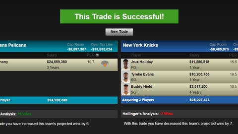 New Orleans Pelicans: Carmelo Anthony for Jrue Holiday, Buddy Hield and Tyreke Evans and New Orleans' 2017 first-round pick