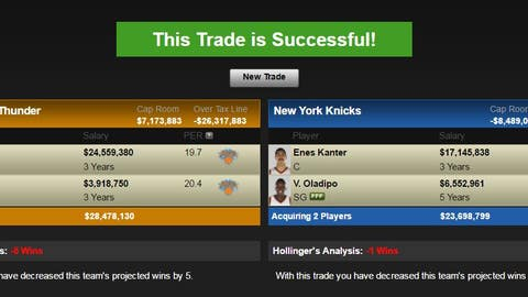 Oklahoma City Thunder: Carmelo Anthony and Kyle O'Quinn for Enes Kanter, Victor Oladipo and Oklahoma City's 2020 first-round pick