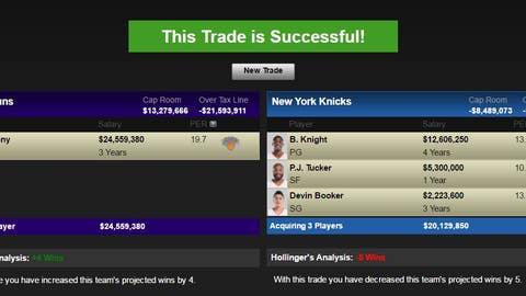 Phoenix Suns: Carmelo Anthony for Devin Booker, Brandon Knight and P.J. Tucker