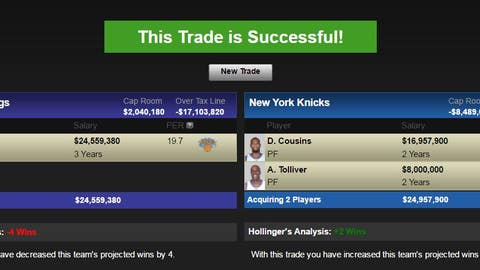 Sacramento Kings: Carmelo Anthony and New York's 2017 first-round pick for DeMarcus Cousins and Anthony Tolliver