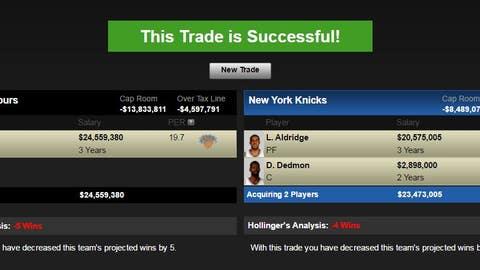 San Antonio Spurs: Carmelo Anthony for LaMarcus Aldridge and Dewayne Dedmon