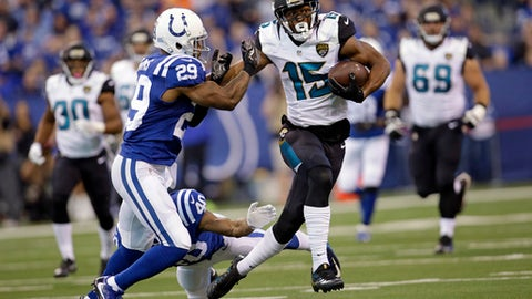Jacksonville Jaguars wide receiver Allen Robinson (15) holds off a tackle-attempt by Indianapolis Colts safety Mike Adams (29) during the first half of an NFL football game in Indianapolis, Sunday, Jan. 1, 2017. (AP Photo/AJ Mast)