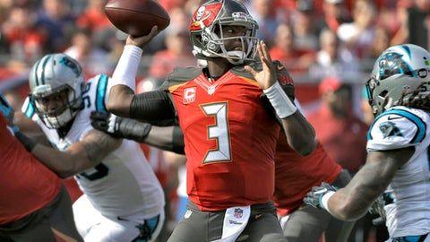 Tampa Bay Buccaneers quarterback Jameis Winston (3) throws a pass against the Carolina Panthers during the first quarter of an NFL football game Sunday, Jan. 1, 2017, in Tampa, Fla. (AP Photo/Chris O'Meara)
