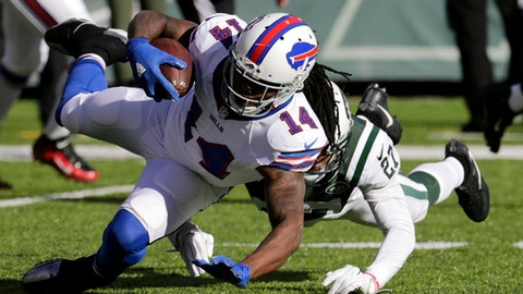 Buffalo Bills wide receiver Sammy Watkins (14) is tackled by New York Jets cornerback Darryl Roberts (27) during the first half of an NFL football game, Sunday, Jan. 1, 2017, in East Rutherford, N.J. (AP Photo/Seth Wenig)