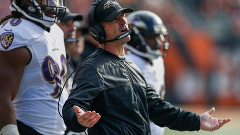 Baltimore Ravens head coach John Harbaugh reacts on the sideline in the first half of an NFL football game against the Cincinnati Bengals, Sunday, Jan. 1, 2017, in Cincinnati. (AP Photo/Gary Landers)