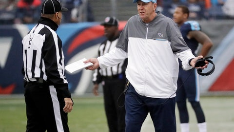 Tennessee Titans head coach Mike Mularkey argues a call with line judge Mark Perlman in the first half of an NFL football game Sunday, Jan. 1, 2017, in Nashville, Tenn. (AP Photo/James Kenney)