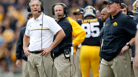 FILE - In this Oct. 1, 2016, file photo, Iowa coach Kirk Ferentz, left, checks a replay board during the team's NCAA college football game against Northwestern in Iowa City, Iowa. Iowa faces Florida in Monday's Outback Bowl. (AP Photo/Charlie Neibergall, File