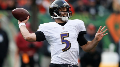 Baltimore Ravens quarterback Joe Flacco passes during the second half of an NFL football game against the Cincinnati Bengals, Sunday, Jan. 1, 2017, in Cincinnati. (AP Photo/Gary Landers)