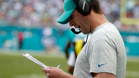 Miami Dolphins head coach Adam Gase looks down from the sidelines, during the first half of an NFL football game against the New England Patriots, Sunday, Jan. 1, 2017, in Miami Gardens, Fla. The Patriots defeated the Dolphins 35-14. (AP Photo/Lynne Sladky)