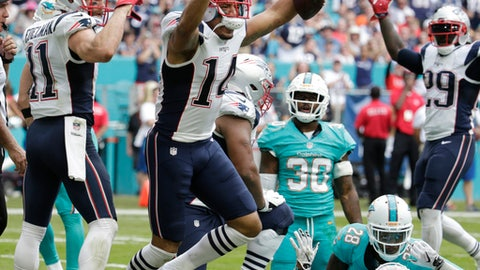 New England Patriots wide receiver Michael Floyd (14) celebrates his touchdown, during the first half of an NFL football game against the Miami Dolphins, Sunday, Jan. 1, 2017, in Miami Gardens, Fla. (AP Photo/Lynne Sladky)