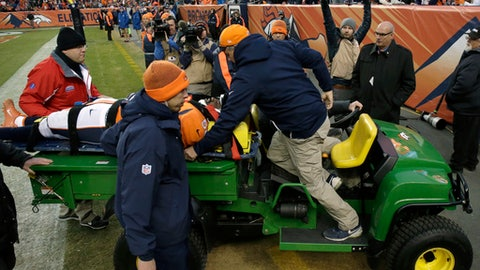 Denver Broncos linebacker Zaire Anderson is taken off the field on a cart after an injury during the second half of the team's NFL football game against the Oakland Raiders, Sunday, Jan. 1, 2017, in Denver. (AP Photo/Jack Dempsey)