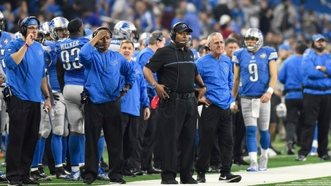 Detroit Lions head coach Jim Caldwell and staff watch from the sidelines during the second half of an NFL football game against the Green Bay Packers, Sunday, Jan. 1, 2017, in Detroit. (AP Photo/Jose Juarez)