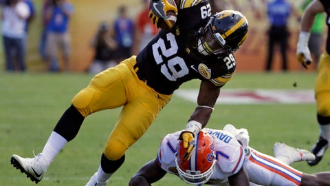 Iowa running back LeShun Daniels Jr. (29) is hit by Florida defensive back Duke Dawson (7) after a run during the first half of the Outback Bowl NCAA college football game Monday, Jan. 2, 2017, in Tampa, Fla. (AP Photo/Chris O'Meara)