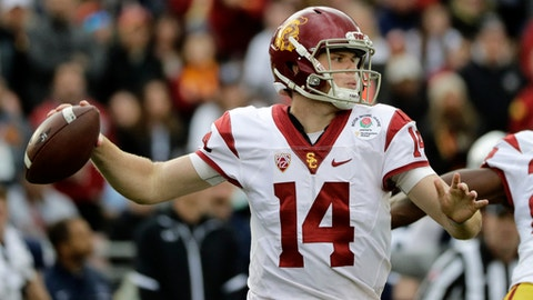 Southern California quarterback Sam Darnold passes against Penn State during the first half of the Rose Bowl NCAA college football game Monday, Jan. 2, 2017, in Pasadena, Calif. (AP Photo/Jae C. Hong)