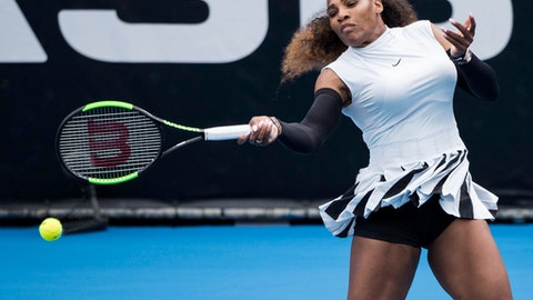 United States' Serena Williams hits a forehand during her first round match against Pauline Parmentier of France at the ASB Classic tennis tournament in Auckland, New Zealand, Tuesday, Jan 3, 2017. Williams won in straight sets 6-3, 6-4. (Jason Oxenham/New Zealand Herald via AP)