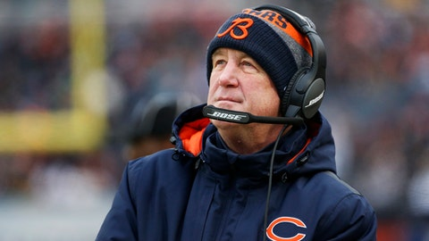 FILE - In this Saturday, Dec. 24, 2016, file photo, Chicago Bears head coach John Fox watches against the Washington Redskins during the first half of an NFL football game in Chicago. The Bears finished their worst season in decades last in the NFC North with a 3-13 record after being shredded by injuries, suspensions and poor play overall. The Bears are 9-23 in two seasons under Fox. (AP Photo/Nam Y. Huh, File)