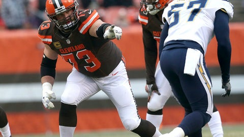 FILE - In this Saturday, Dec. 24, 2016, file photo, Cleveland Browns' Joe Thomas gestures at the line of scrimmage during an NFL football game against the San Diego Chargers in Cleveland. For one of the few times in his NFL career, Joe Thomas believes the Browns are getting it right, despite a 1-15 record.  (AP Photo/Aaron Josefczyk, File)