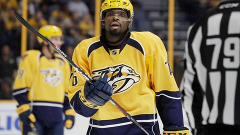 FILE - In this Nov. 8, 2016, file photo, Nashville Predators defenseman P.K. Subban plays against the Ottawa Senators during the first period of an NHL hockey game in Nashville, Tenn. Subban was supposed to play Tuesday night against against Montreal, the team that traded him to the Predators. Instead, the former Norris Trophy winner has been put him on injured reserve, (AP Photo/Mark Humphrey, File)