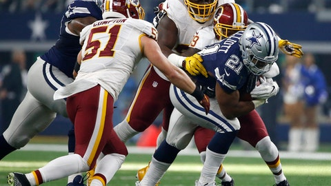 FILE - In this Nov. 24, 2016 file photo, Dallas Cowboys running back Ezekiel Elliott (21) struggles for extra yardage as Washington Redskins' Will Compton (51) and Donte Whitner Sr., rear, make the stop in the first half of an NFL football game, in Arlington, Texas. More than just struggling against the run and pass, Washington was worst in the league in third-down defense and among the worst teams in the red zone. Whether that's scheme or personnel is a matter of debate but most likely a combination of the two. (AP Photo/Ron Jenkins, File)