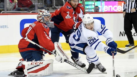 Toronto Maple Leafs center William Nylander (29) reaches for the puck against Washington Capitals goalie Philipp Grubauer (31), of Germany, and defenseman Matt Niskanen (2) during the second period of an NHL hockey game, Tuesday, Jan. 3, 2017, in Washington. (AP Photo/Nick Wass)