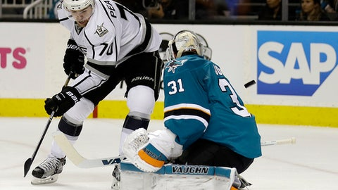 Los Angeles Kings' Tanner Pearson, left, shoots against San Jose Sharks goalie Martin Jones (31) during the second period of an NHL hockey game Tuesday, Jan 3, 2017, in San Jose, Calif. (AP Photo/Ben Margot)