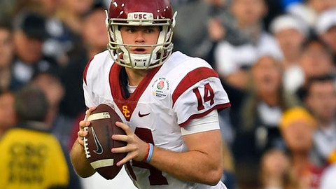 FILE - In this Monday, Jan. 2, 2017, file photo, Southern California quarterback Sam Darnold looks to pass during the first half of the Rose Bowl NCAA college football game against Penn State in Pasadena, Calif. Darnold was selected to the Associated Press 2016 All-Bowl Team, announced on Wednesday, Jan. 4, 2017. (AP Photo/Mark J. Terrill)