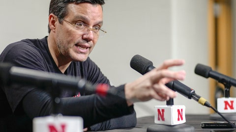 Nebraska head coach Tim Miles gestures during a news conference in Lincoln, Neb., Wednesday, Jan. 4, 2017. Nebraska plays Iowa in an NCAA college basketball game on Thursday. (AP Photo/Nati Harnik)