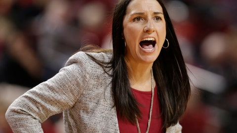 Nebraska coach Amy Williams reacts in the first half of an NCAA women's college basketball game against Maryland in Lincoln, Neb., Wednesday, Jan. 4, 2017. (AP Photo/Nati Harnik)