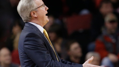 Iowa coach Fran McCaffery gestures during the first half of an NCAA college basketball game against Nebraska in Lincoln, Neb., Thursday, Jan. 5, 2017. (AP Photo/Nati Harnik)