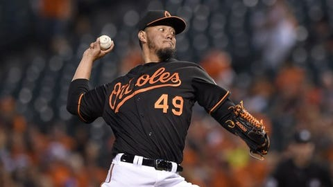 Baltimore Orioles starting pitcher Yovani Gallardo delivers during the first inning of a baseball game against the Arizona Diamondbacks, Friday, Sept. 23, 2016, in Baltimore. (AP Photo/Nick Wass)