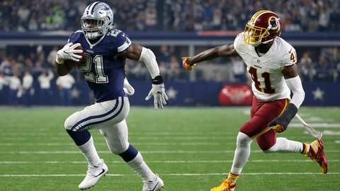 FILE - In this Nov. 24, 2016, file photo, Dallas Cowboys running back Ezekiel Elliott (21) runs the ball as Washington Redskins' Will Blackmon (41) gives chase in the second half of an NFL football game,  in Arlington, Texas. NFL teams ran the ball less than ever in 2016 yet six playoff teams had a 1,000-yard rusher. Ezekiel Elliot (Cowboys), Jay Ajayi (Dolphins), Le'Veon Bell (Steelers), LeGarrette Blount (Patriots), Devonta Freeman (Falcons) and Lamar Miller (Texans) each topped 1,000 and are still playing. Last year, Adrian Peterson was the only 1,000-yard rusher in the playoffs.(AP Photo/Ron Jenkins, File)