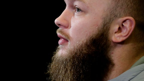 FILE - In this Dec. 31, 2016, file photo, Clemson's Ben Boulware speaks during the Fiesta Bowl NCAA college football game media day, in Scottsdale, Ariz. Boulware is the team's top tackler and a lightning rod for criticism on Twitter. Some of the tweets he laughs off. Even if they cuss him out. But one was way out of line: His father had to contact the police after one person picked on Boulware's little sister. (AP Photo/Matt York)