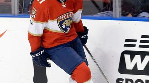 Florida Panthers' Greg McKegg celebrates after scoring against the Nashville Predators during the first period of an NHL hockey game, Friday, Jan. 6, 2017, in Sunrise, Fla. (AP Photo/Alan Diaz)