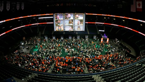 Clemson participates in media day for the NCAA college football playoff championship game against Alabama Saturday, Jan. 7, 2017, in Tampa, Fla. (AP Photo/John Bazemore)
