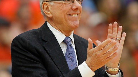 Syracuse head coach Jim Boeheim celebrates in the first half of an NCAA college basketball game against Pittsburgh in Syracuse, N.Y., Saturday, Jan. 7, 2017. (AP Photo/Nick Lisi)