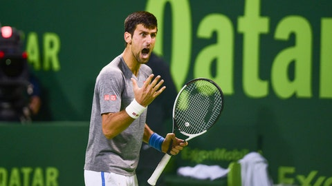 Novak Djokovic of Serbia reacts during his Qatar Open 2017 final tennis match against Britain's Andy Murray in Doha, Qatar, Saturday, Jan. 7, 2017. (AP Photo/Alexandra Panagiotidou)