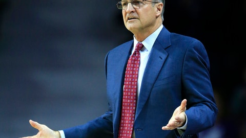 Oklahoma head coach Lon Kruger questions a call during the first half of an NCAA college basketball game against Kansas State in Manhattan, Kan., Saturday, Jan. 7, 2017. (AP Photo/Orlin Wagner)