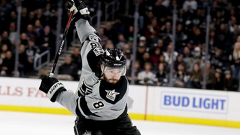 Los Angeles Kings defenseman Drew Doughty shoots during overtime in an NHL hockey game against the Minnesota Wild in Los Angeles, Saturday, Jan. 7, 2017. The Kings won 4-3 in overtime. (AP Photo/Chris Carlson)