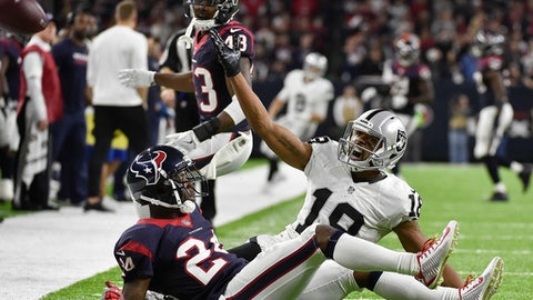 Oakland Raiders wide receiver Andre Holmes (18) calls for interference call against Houston Texans cornerback Johnathan Joseph (24) during the second half of an AFC Wild Card NFL game Saturday, Jan. 7, 2017, in Houston. Interference was called by the officials. (AP Photo/Eric Christian Smith)