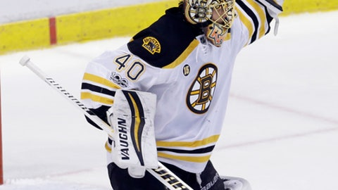 Boston Bruins goalie Tuukka Rask (40) stops a shot by the Florida Panthers in the first period of an NHL hockey game Saturday, Jan. 7, 2017, in Sunrise, Fla. (AP Photo/Alan Diaz)