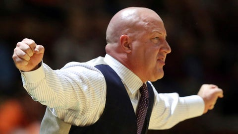 Virginia Tech coach Buzz Williams signals from the bench during the first half of the team's NCAA college basketball game against Syracuse in Blacksburg, Va., Tuesday, Jan. 10, 2017. (Matt Gentry/The Roanoke Times via AP)