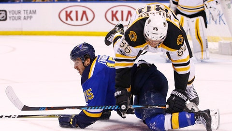 Boston Bruins' Kevan Miller, top, is upended by St. Louis Blues' Robby Fabbri during the second period of an NHL hockey game Tuesday, Jan. 10, 2017, in St. Louis. (AP Photo/Billy Hurst)