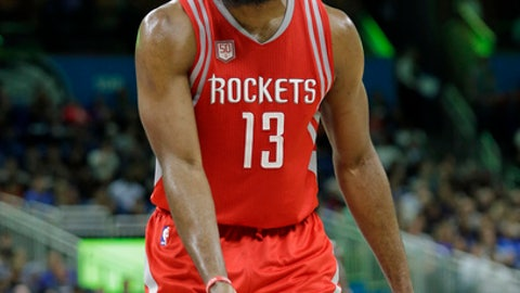 Houston Rockets' James Harden disputes a call by officials during the second half of an NBA basketball game against the Orlando Magic, Friday, Jan. 6, 2017, in Orlando, Fla. Houston won 100-93. (AP Photo/John Raoux)