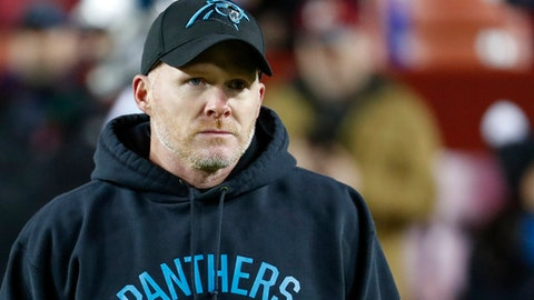 Carolina Panthers defensive coordinator Sean McDermott walks across the field before an NFL football game against the Washington Redskins in Landover, Md., Monday, Dec. 19, 2016. (AP Photo/Alex Brandon)