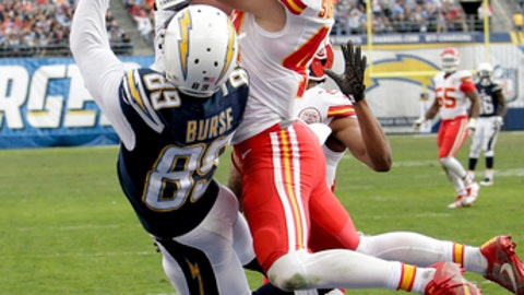 FILE - In this Sunday, Jan. 1, 2017, file photo, Kansas City Chiefs defensive back Daniel Sorensen, right, intercepts a pass intended for San Diego Chargers wide receiver Isaiah Burse (89) during the first half of an NFL football game in San Diego. While each of the eight NFL teams in playoff action this weekend has stars everyone has heard of _ Tom Brady; Aaron Rodgers; Richard Sherman,  there are also lesser-known players like Sorensen, who could play key roles in the divisional-round games. (AP Photo/Rick Scuteri, File)