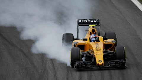 FILE - In this file photo dated Saturday, Nov. 12, 2016, Renault driver Jolyon Palmer, of Britain, steers his car during the qualifying session ahead of the Brazilian Formula One Grand Prix at the Interlagos race track in Sao Paulo, Brazil.  According to an announcement Wednesday Jan. 11, 2017, from Renault Frederic Vasseur has left his role as team principal of Renault by mutual consent, after one season with the Formula One team.(AP Photo/Leo Correa, FILE)