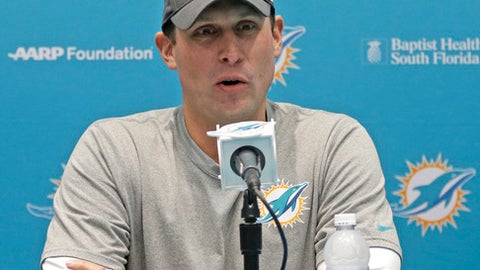 Miami Dolphins football head coach Adam Gase talks to reporters during a news conference, Wednesday, Jan. 11, 2017, in Sunrise, Fla. Coach Gase says evaluating the roster will be the first offseason priority. (AP Photo/Alan Diaz)